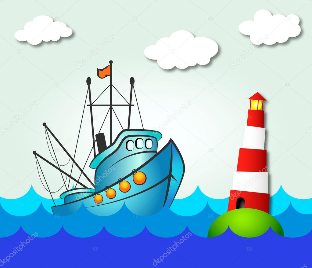 Fishing boat and lighthouse stock vector john1279 for How much does it cost to buy a fishing license