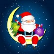 Santa on moon — Stock Vector