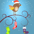 Birdie at Christmas — Stock Vector #30605485