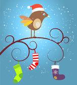 Birdie at Christmas — Stock Vector