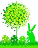 Królik bugs i wielkanoc jaja — Wektor stockowy