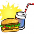 Stock Vector: Burger and soda