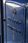 Metal box with Traffic Control sign — Stock Photo