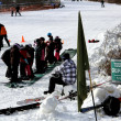 Foto Stock: Group of toddlers at ski lesson