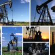Stock Photo: Oil Pump Jack and refinery split screen