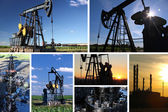 Oil Pump Jack and refinery split screen — Stock Photo