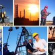 Workers in an Oil field - Stock Photo