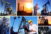 Trabalhadores em um campo de petróleo — Foto Stock