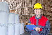 Happy Worker in Warehouse — Stock Photo