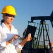 Businesswoman in an oilfield - Stock Photo