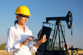 Businesswoman in an oilfield — Foto de Stock