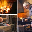Blacksmith at work - collage — Stock Photo