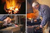 Blacksmith at work - collage — Stock Photo