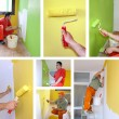 Painting walls, interior decoration - collage — Photo