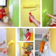 Painting walls, interior decoration - collage — Foto Stock