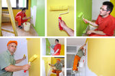 Painting walls, interior decoration - collage — Stock Photo