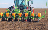 Tractor sowing — Стоковое фото