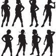 Silhouettes of girls — Stock Vector #12115260