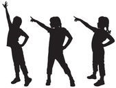 Three silhouettes of girls — Stock Vector