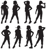 Silhouettes of girls — Stock Vector