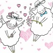 Cute sheep in love - Stock Vector