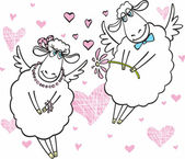 Cute sheep in love — Stock Vector