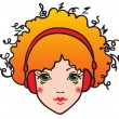Bright girl listening to music — Vector de stock #21804381
