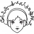 Girl listening to music — Vector de stock #21804405