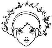 Menina ouvindo música — Vetorial Stock