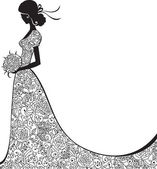 Elegant silhouette of the bride — Stock Vector