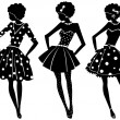 Three silhouettes of  women — Stock Vector