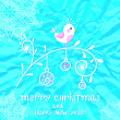 Christmas card with cute bird on blue winter background with sno — Stock Vector