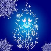 Winter-Card mit niedlichen Vögeln auf blau Winter Hintergrund mit smowf — Stockvektor