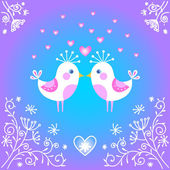 Cute birds falling in love. — Stock Vector