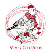 Boże Narodzenie tło z ptakiem. — Wektor stockowy