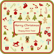 Christmas card with decorative elements — Stock Vector