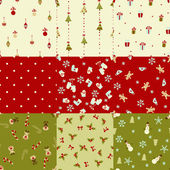 Set of Christmas seamless patterns — Stock Vector