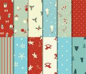 Set van 12 Kerstmis naadloze patronen — Stockvector