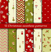 Set of 12 Christmas seamless patterns — Stock Vector