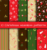 Set of 10 Christmas seamless patterns — Stock vektor