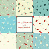 Christmas card with seamless patterns — Stock vektor