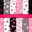 Twelve valentines seamless patterns — Imagen vectorial