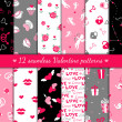 Twelve valentines seamless patterns — Vektorgrafik