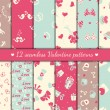 Twelve valentines seamless patterns — Stock Vector #36957045