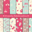 Twelve valentines seamless patterns — Stok Vektör