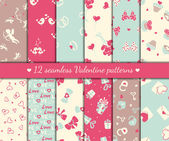 Twelve valentines seamless patterns — Stock Vector