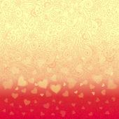 Romantické pozadí s florálním ornamentem a srdce — Stock vektor