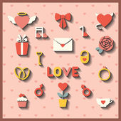 Flat icons for wedding or Valentine's day — Stock Vector