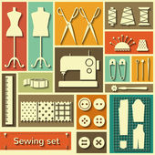Vector flat sewing icons set — Stock Vector