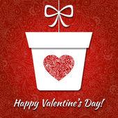 ギフトとエレガントな心とバレンタイン カード — ストックベクタ